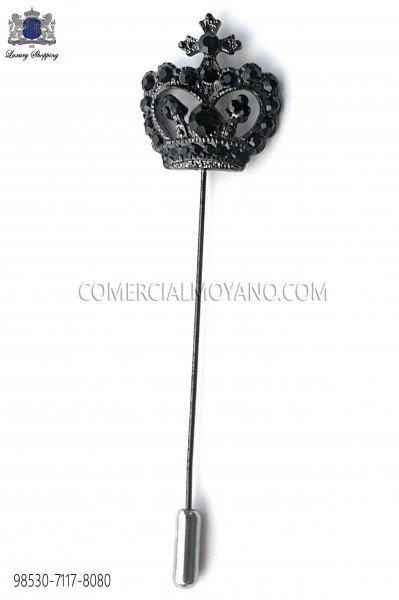 Alfiler corona con cristal negro 98530-7117-8080 Ottavio Nuccio Gala.