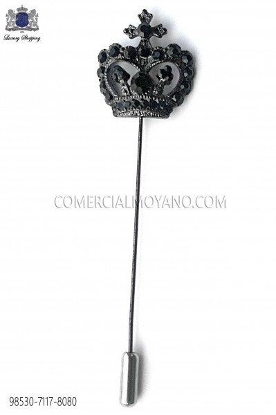 Black crown crystal pin 98530-7117-8080 Ottavio Nuccio Gala.