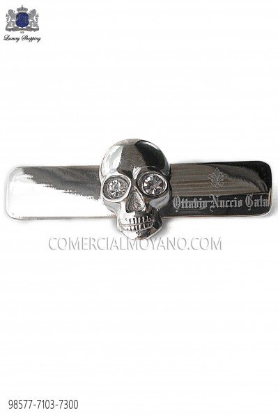 Dark silver skull tie clip 98577-7103-7300 Ottavio Nuccio Gala