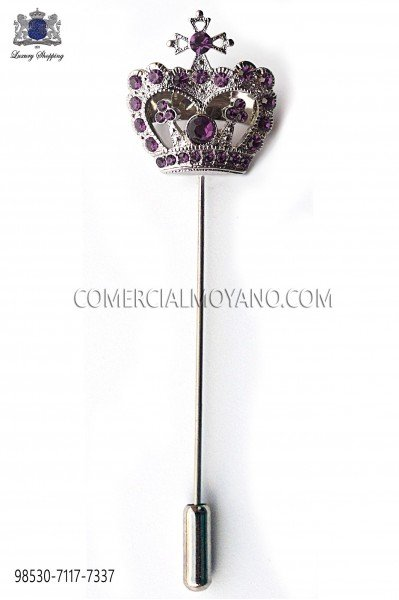 Purple crown crystal rhinestone pin 98530-7117-7337 Ottavio Nuccio Gala.
