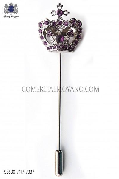 Purple crown crystal rhinestone pin 98530-7117-7337 Ottavio Nuccio Gala.