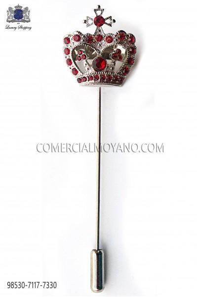 Red crown crystal rhinestone pin 98530-7117-7330 Ottavio Nuccio Gala