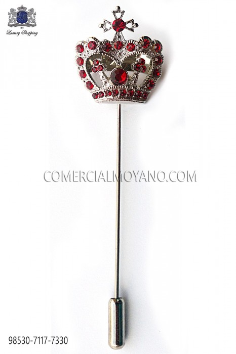 Red crown crystal rhinestone pin 98530-7117-7330 Ottavio Nuccio Gala