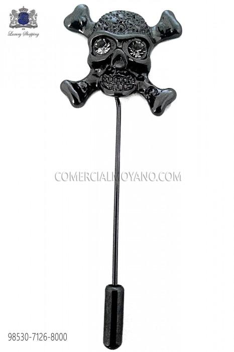 Skull black crystal rhinestone pin 98530-7126-8000 Ottavio Nuccio Gala