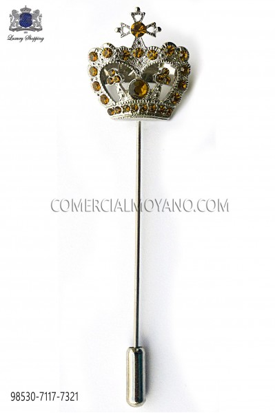 Gold crown crystal rhinestone pin 98530-7117-7321 Ottavio Nuccio Gala