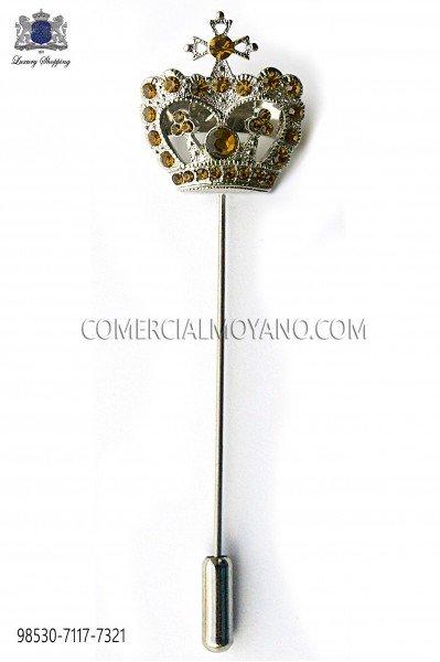 Alfiler corona con cristal strass dorado 98530-7117-7321 Ottavio Nuccio Gala