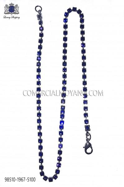 Pocket chain with blue crystal rhinestones 98510-1967-5100 Ottavio Nuccio Gala.
