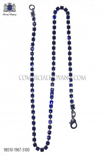 Pocket chain with blue crystal rhinestones 98510-1967-5100 Ottavio Nuccio Gala.