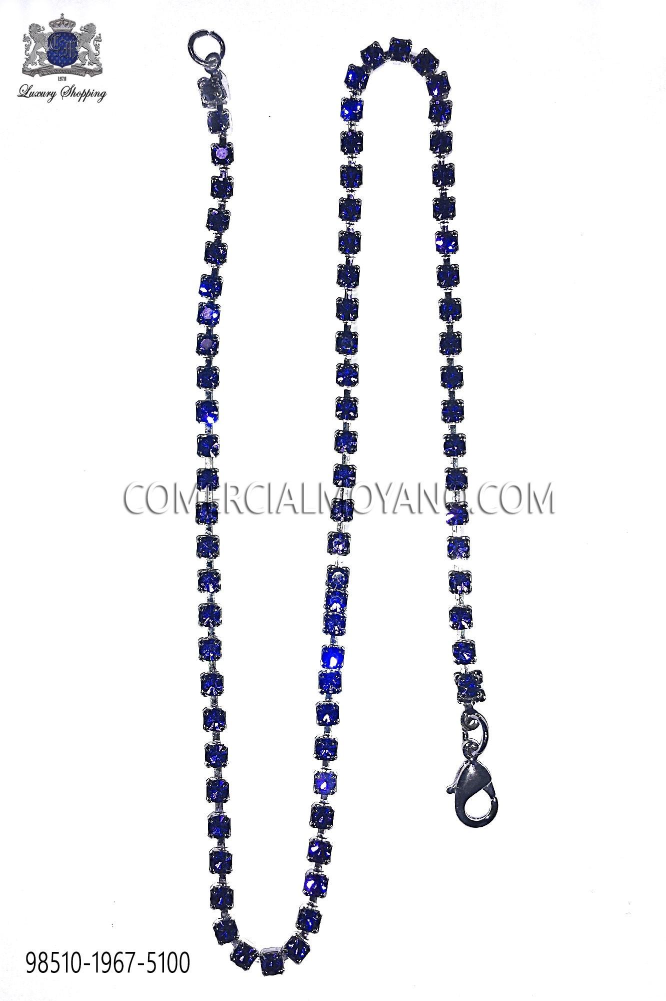 Nickel tone chain with blue sapphire rhinestones Ottavio Nuccio Gala.