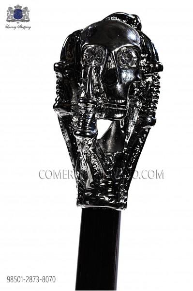 Cane with dark silver skull handle 98501-2873-8070 Ottavio Nuccio Gala.