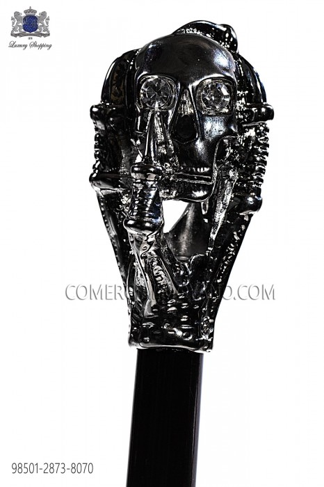 Cane with dark silver skull handle 98501-2873-8070 Ottavio Nuccio Gala.
