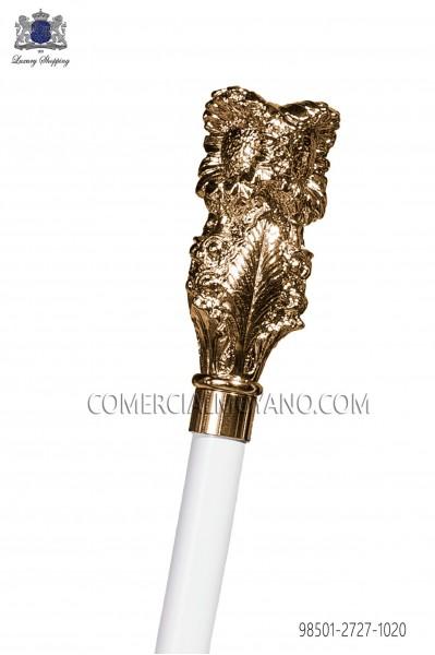 Baston blanco empuñadura dorada 98501-2727-1020 Ottavio Nuccio Gala.