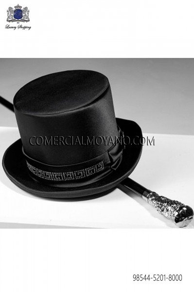Top hat in black satin 98544-5201-8000 Ottavio Nuccio Gala.