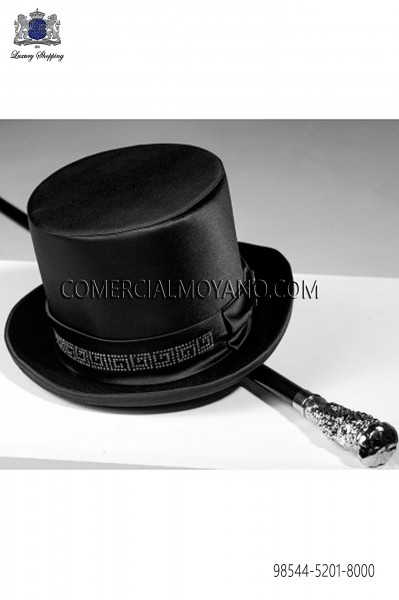 Top hat in black satin 98544-5201-8000 Ottavio Nuccio Gala.