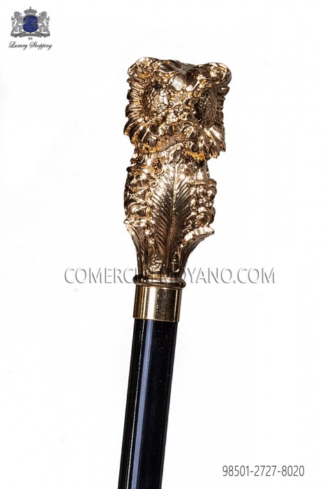 Black cane with golden pommel 98501-2727-8020 Ottavio Nuccio Gala.