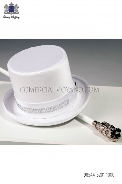 White satin top hat 98544-5201-1000 Ottavio Nuccio Gala.