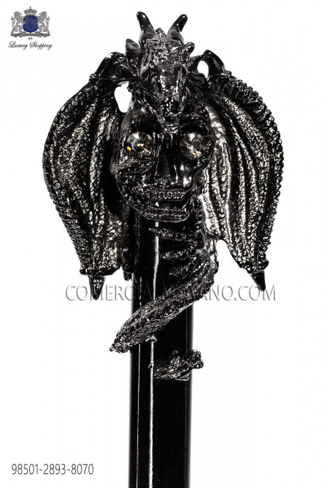 Black cane with gunmetal grey dragon knob 98501-2893-8070 Ottavio Nuccio Gala.