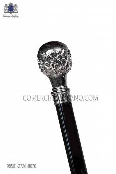 Black cane with nickel tone knob 98501-2726-8070 Ottavio Nuccio Gala.