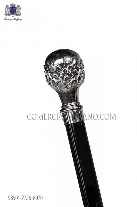 Black cane with nickel tone knob 98501-2726-8070 Ottavio Nuccio Gala.