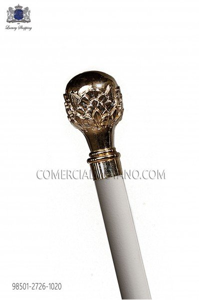 White cane with gold tone knob 98501-2726-1020 Ottavio Nuccio Gala.