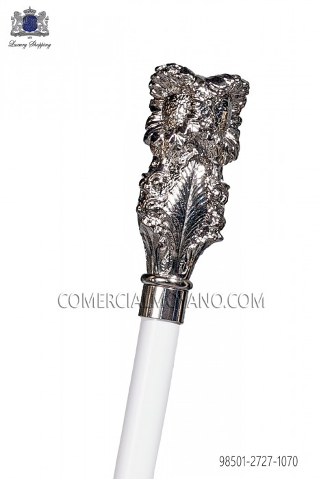 White cane with silver pommel 98501-2727-1070 Ottavio Nuccio Gala.