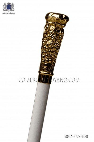 Bastón blanco con empuñadura de racimo dorada 98501-2728-1020 Ottavio Nuccio Gala.