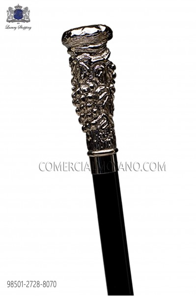 Black cane with silver handle cluster 98501-2728-8070 Ottavio Nuccio Gala.