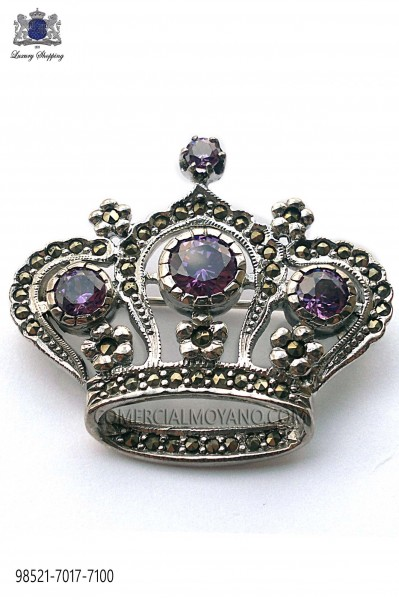 Pure silver brooch crown design mallow crystal 98521-7017-7100 Ottavio Nuccio Gala.