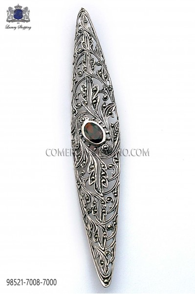 Pure silver lapel pin with black stone 98521-7008-7000 Ottavio Nuccio Gala.