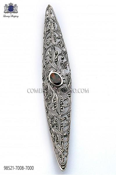 Pure silver lapel pin with black stone 98521-7008-7000 Ottavio Nuccio Gala.