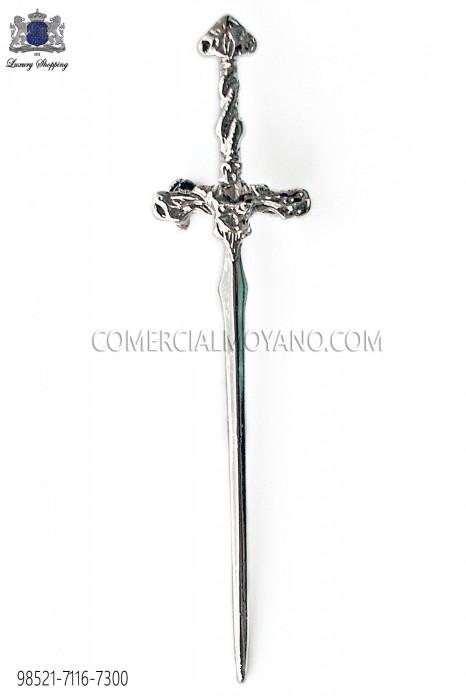 Silver gothic sword lapel pin 98521-7116-7300 Ottavio Nuccio Gala.