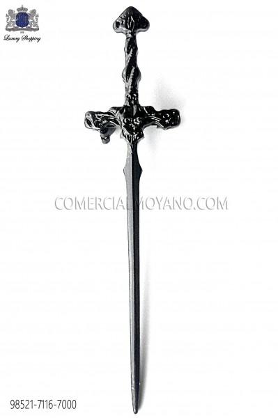Black gothic sword lapel pin 98521-7116-8000 Ottavio Nuccio Gala.