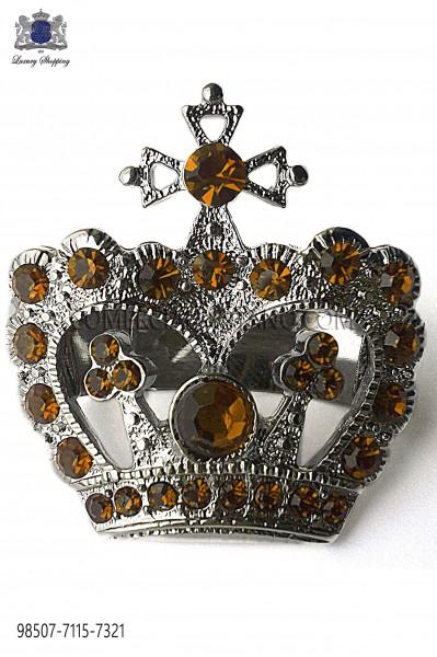 Broche corona con strass topacio 98507-7115-7321 Ottavio Nuccio Gala.