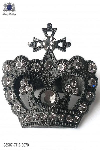 Gunmetal grey crown cravat clasp 98507-7115-8070 Ottavio Nuccio Gala.