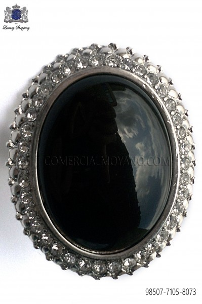 Nickel clasp with black cameo 98507-7105-8073 Ottavio Nuccio Gala.