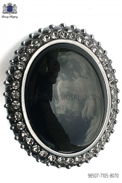 Gunmetal grey clasp with black cameo 98507-7105-8070 Ottavio Nuccio Gala.