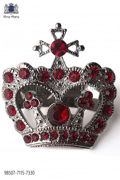 Broche corona con strass rojo 98507-7115-7330 Ottavio Nuccio Gala.