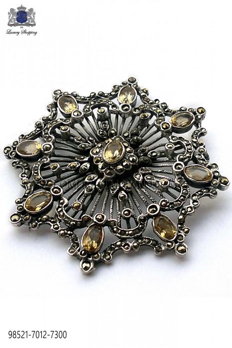 Pure silver brooch with topaz crystals 98521-7012-7300 Ottavio Nuccio Gala.