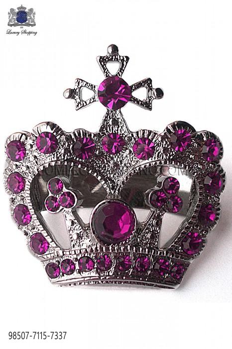Crown clasp with amethyst rhinestone 98507-7115-7337 Ottavio Nuccio Gala.
