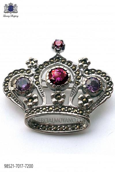 Pure silver brooch crown design violets crystal 98521-7017-7200 Ottavio Nuccio Gala.