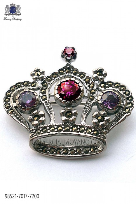 Pure silver brooch crown design violets crystal 98521-7017-7200 Ottavio Nuccio Gala.