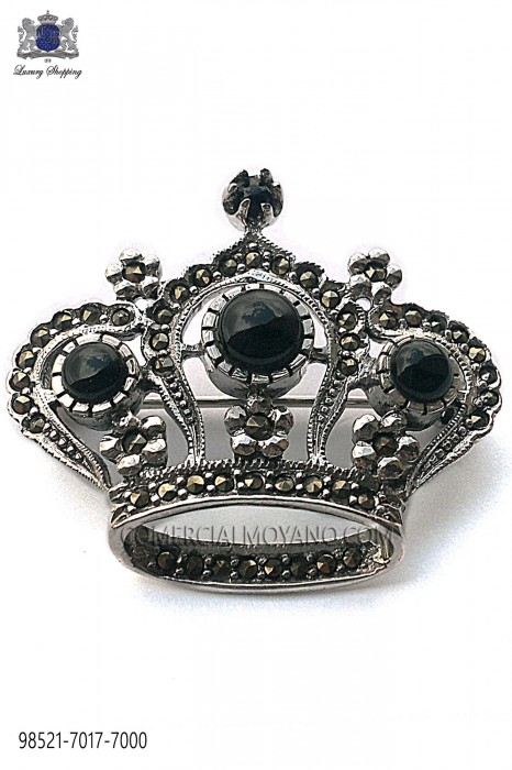 Pure silver brooch crown design dark crystals 98521-7017-7000 Ottavio Nuccio Gala.