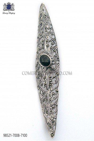 Silver brooch with maroon stone 98521-7008-7100 Ottavio Nuccio Gala.
