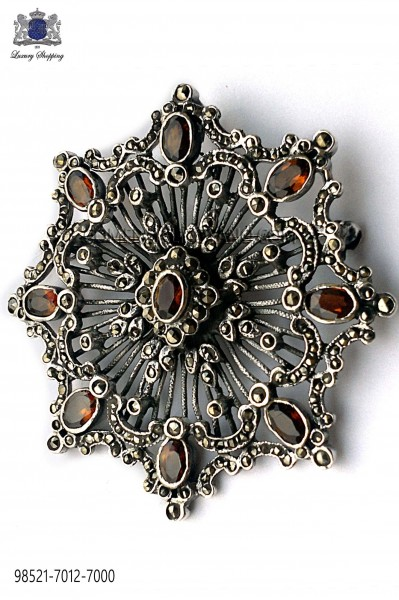 Broche en plata de ley pedrería topacio imperial 98521-7012-7000 Ottavio Nuccio Gala.