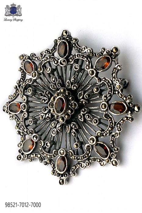 Pure silver brooch with imperial topaz crystals 98521-7012-7000 Ottavio Nuccio Gala.