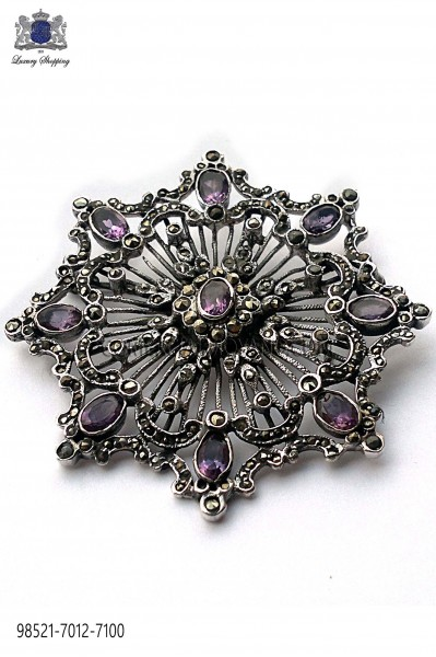 Pure silver brooch with amethyst crystals 98521-7012-7100 Ottavio Nuccio Gala.