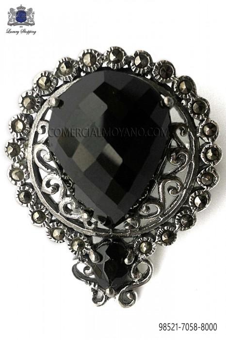 Pure silver baroque brooch with black stone 98521-7058-8000 Ottavio Nuccio Gala.