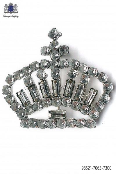 Crown brooch with crystal rhinestones 98521-7063-7300 Ottavio Nuccio Gala.