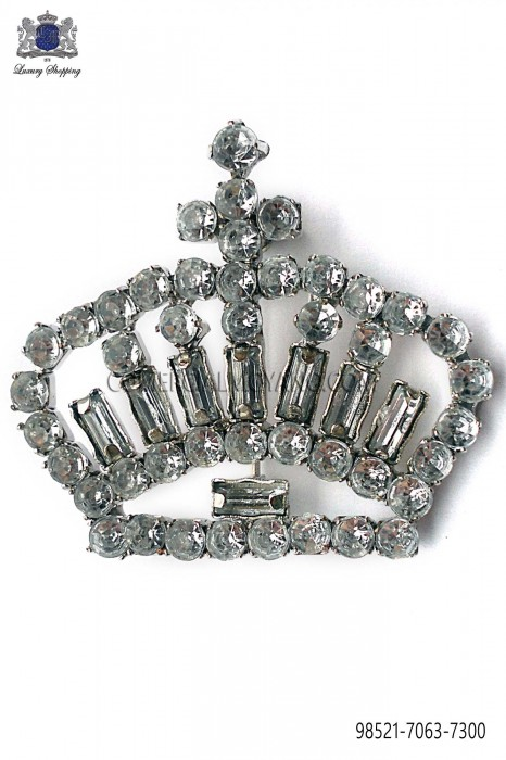 Crown brooch with crystal rhinestones 98521-7063-7300 Ottavio Nuccio Gala.