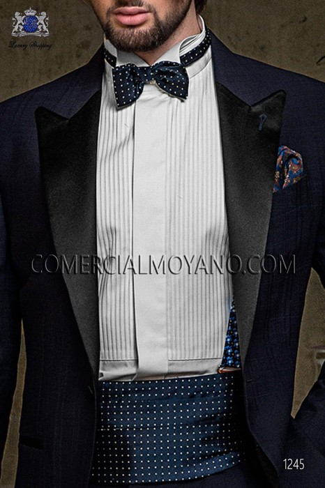 Blue jacquard silk braces 98428-9000-5095 Ottavio Nuccio Gala.